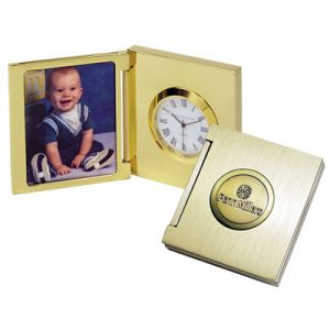 Gold Mini Clock With Kid Picture