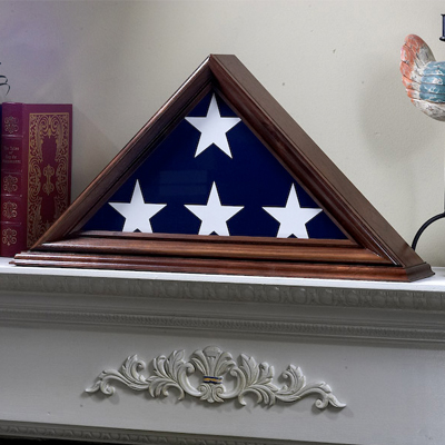 American Flag In Wood Triangle Box On Mantle